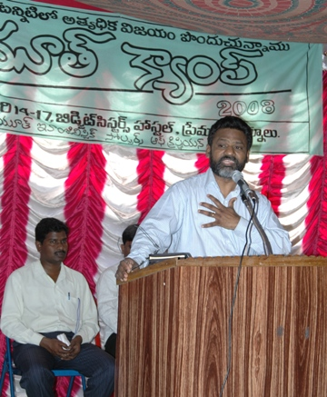 Sudhakar speaking to over 250 young men and women, Brethren Youth Camp, Kurnool